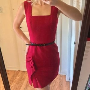 Express Dresses - Express Sheath Ruched Red Cocktail Mini Dress